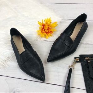 Zara Woman Black Pointed Loafer Slip On Flats